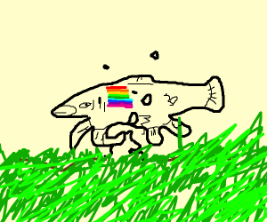Rainbow Trout digging into a Lawn