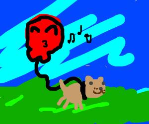 Balloon walks his dog