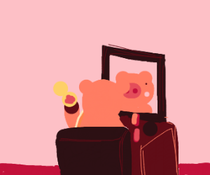 a pork doing his/her makeup