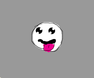 Floating face with it's tongue out