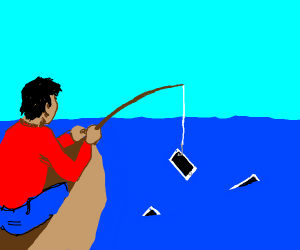 guy fishes up a phone