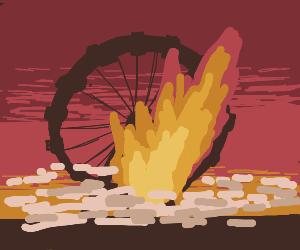 Ferris wheel on fire