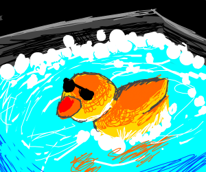Duck chilling in hot tub