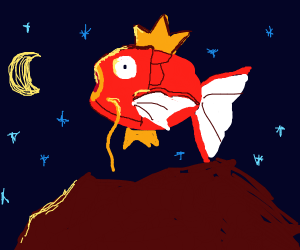 magikarp jumping over a red continent