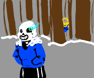 sans is being stalked by a minion kinder egg