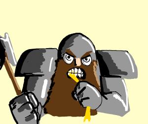Gnome eats fistful of uncooked spaghetti