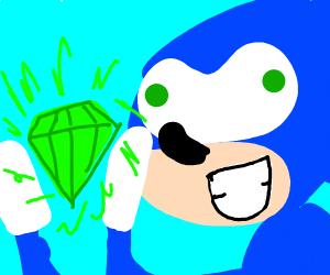 Sonic found a green diamond