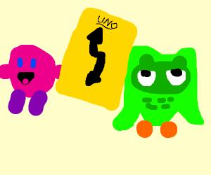 Kirb pulls a uno reverse card on duolingo
