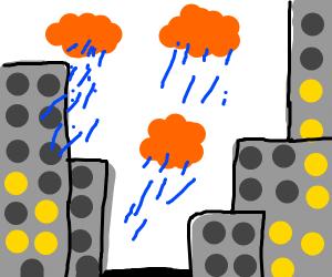 Orange clouds raining in city