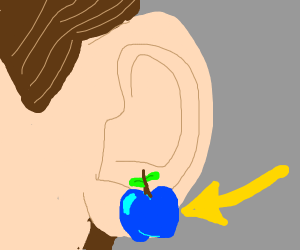 Emphasis: Blue, apple-shaped earring