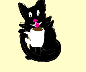 A cat sipping tea