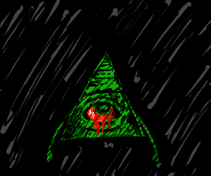 Illuminati with arms and the eye is bleeding
