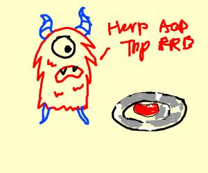Alien furry talking to red bean