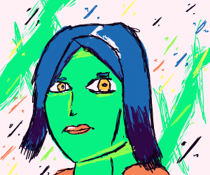 green woman with blue hair