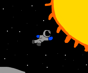 astronaut flying into the sun