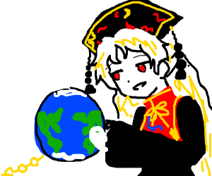 blond girl carrying the world