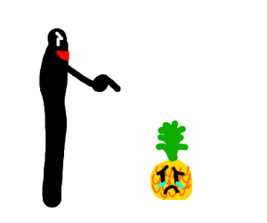 A long... thing bullies a short pineapple