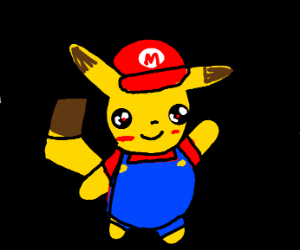 Pikachu with a mario hat