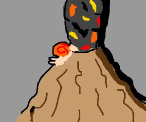 volcano with slugs in them