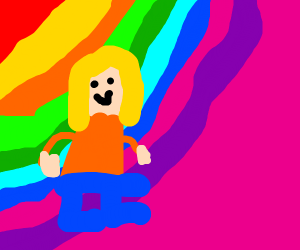 Blonde girl in front of multicolored bg
