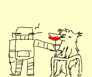 Robot offers red wine to dog with walker