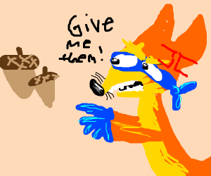 Angry Fox wants acorns