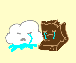 Rain cloud and brownie are depressed together