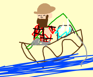 A man fishing with his socks in the bucket