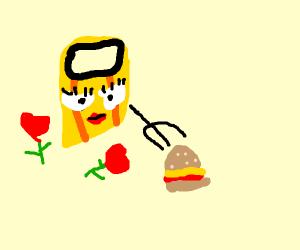 Romantic pasta eating