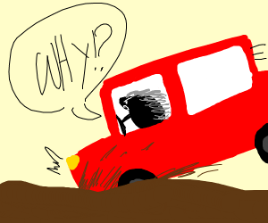 porcupine driving a car stuck in mud