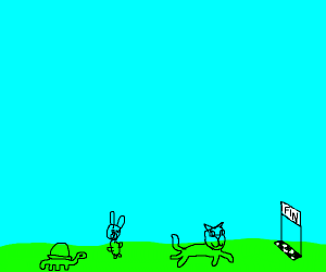 Cat beating rabbit and tortoise in race