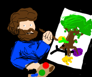 bob ross draws thanos under a tree