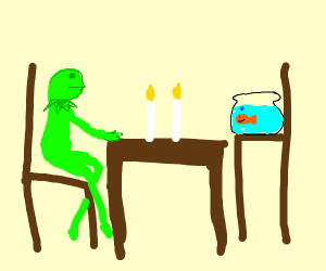 Kermit goes on a date with a goldfish