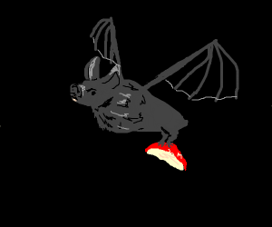 a bat with an apple