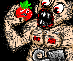 Hairy and buff pirate eats a tomato