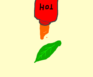 Putting hot sauce on a leaf