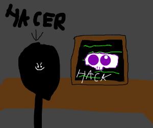 a hacker at his desk