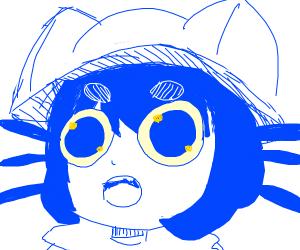 cute blue haired catgirl