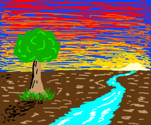 A river with a tree surrounded by grass with