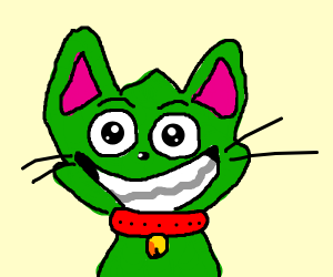 A happy green cat with a disturbing smile