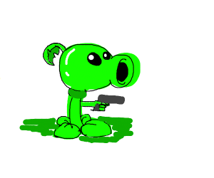 Peashooter threatens with gun