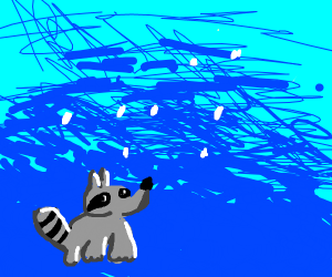 Raccoon in a Hailstorm