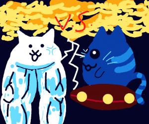 cat vs blue alien