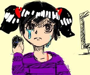Sad Gamer Girl Cries