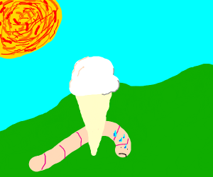 a worm reaching for an ice cream on a hot day