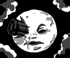 Rocket Ship Pokes Moon in the Eye