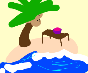 Deserted island with coconuts, table and bowl