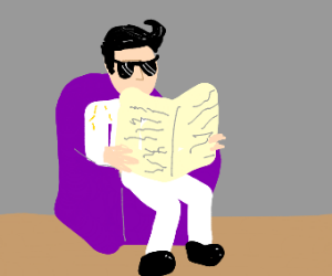Elvis reads The newspaper