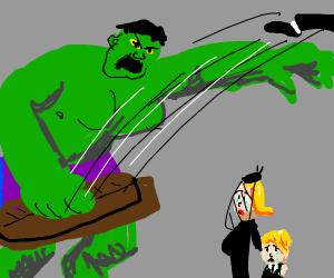 Hulk throwing dead body