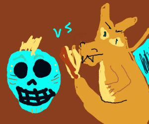 Mohawk Skull vs. A Dragon